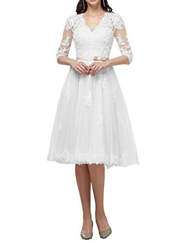 Brautkleider Spitze Lang Hochzeitskleider Standesamtkleider A-Linie Spitzenkleider Partykleider Brautmode Weiß 48