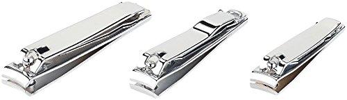 PEARL Nagelschere: 3er-Set Nagelknipser mit Feile & Reiniger in 3 Größen (Nagelclipser)