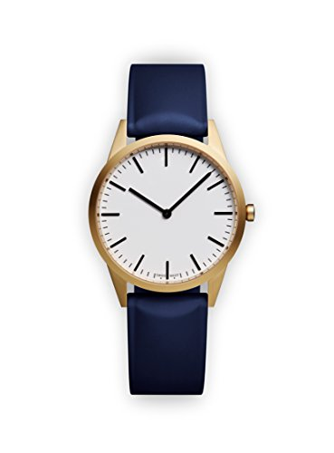 Uniform Wares Unisex Herren & Damen C35 Uhren in PVD Satin Gold with Blue Nitrile Rubber Strap