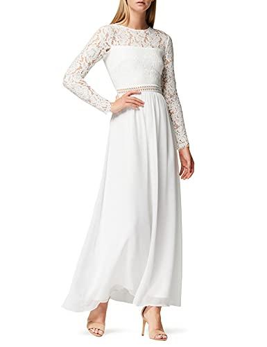TRUTH & FABLE Damen Maxi A-Linien-Kleid aus Spitze, Weiß
