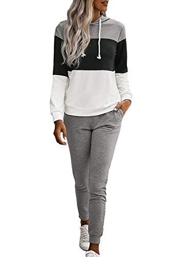 Azokoe Womens Casual 2 Piece Outfit Long Sleeve Pullover Hoodie and Sweatpants Set Tracksuit Black M