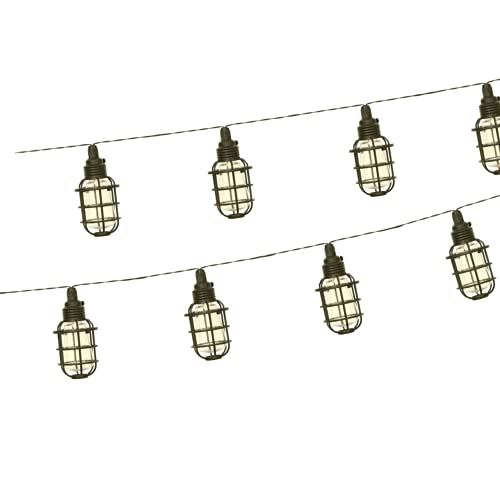 Flairlux - Guirnalda de luces LED solar para jardín, aspecto vintage, 1,7 m, con 8 jaulas, impermeable, exterior, con estaca solar, decoración para jardín, pabellón, balcón en blanco cálido