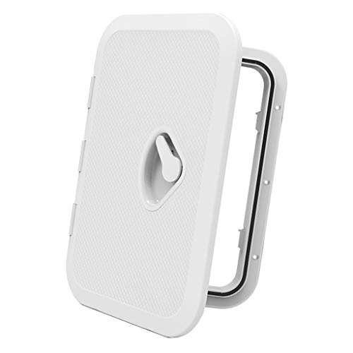 perfk 14 34 x 10 14 inch Deck Plate Waterproof Inspection Access Hatch Cover Lid Screw Type for Kayak Boat Fishing Rigging White