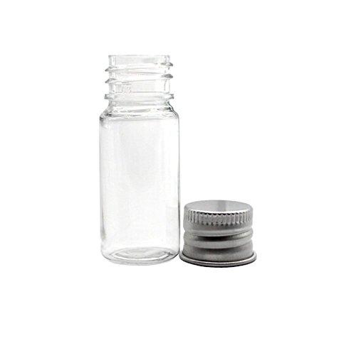 TININNA 10 ML Chiaro Vuoto Bottiglie di plastica Piccolo Bottiglie di Olio Cosmetici Vasetti Contenitore Bottiglie con Coperchio in Alluminio 20 pz