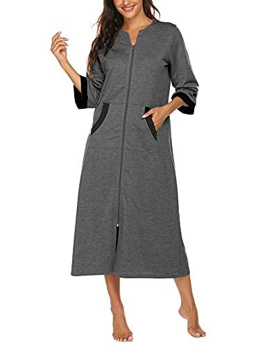 Ekouaer Damen Kimono Morgenmantel Lang 3/4 Ärmeln Loungewear Baumwolle Warm Saunamantel mit Taschen Herbst Nachtwäsche Winter Bademantel Reißverschluss Lang grau XXL