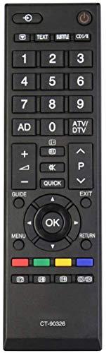 ALLIMITY CT-90326 CT 90326 Fernbedienung Ersetzen für Toshiba REGZA LCD TV 32AV704R 32AV733 32EL833 32EL833B 32L2434DG 32L2453RB 32W2434DG 37RV633D 40LV665D 42AV635D 50L2333D 37AV607P
