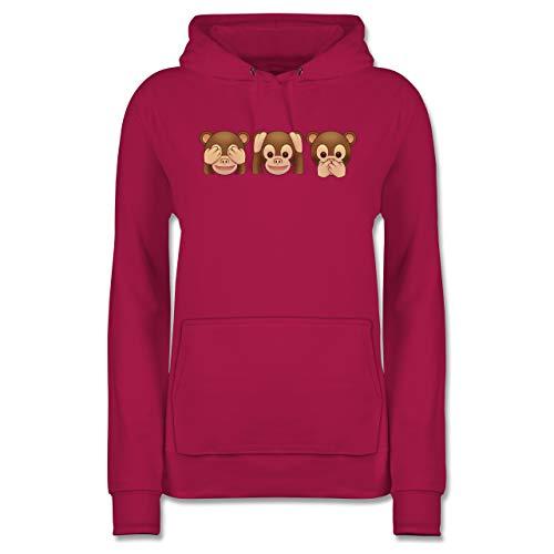 Comic Shirts - Äffchen Emoticon - XL - Fuchsia - AFFE Pulli - JH001F - Damen Hoodie und Kapuzenpullover für Frauen