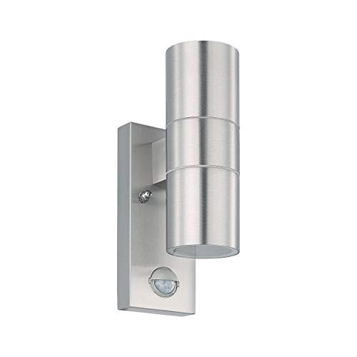 Eglo Lampada da parete a LED per esterno Riga 5, Lampadario da esterno a 2 luci incl. rilevatore di movimento, Applique da parete in acciaio inossidabile e vetro con sensore, argento, IP44