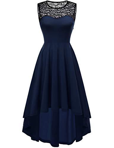 YOYAKER Damen Vintage Rockabilly Kleid Rundhals Ärmellos Cocktailkleid Elegant Spitzenkleid Vokuhila Festliche Party Abendkleider Navy M