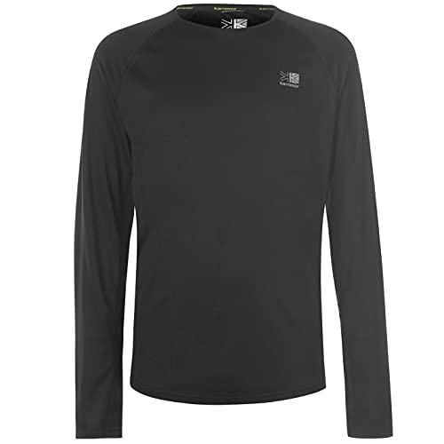 Karrimor Herren Langarm Laufshirt Jogging Fitness Sport Top Sportshirt Schwarz Large