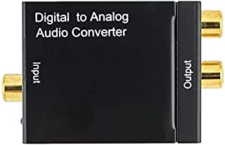 Paris 同軸デジタル アナログ 音声 変換アダプタ DACデジタル(光/同軸) to アナログ(RCA)オーディオ変換器 コンバーター 金メッキ端子 (電源アダプターと光ケーブル付き)