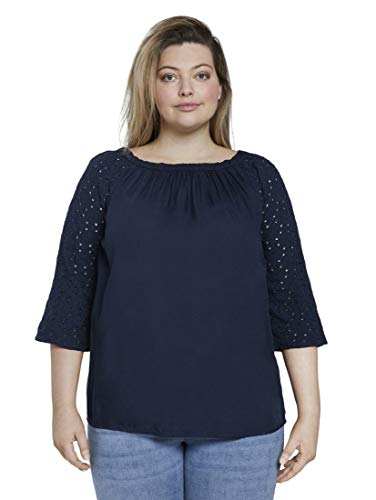 TOM TAILOR MY TRUE ME Damen Blusen, Shirts & Hemden Carmen-Bluse mit Lochstickerei Real Navy Blue,44,10360,6000