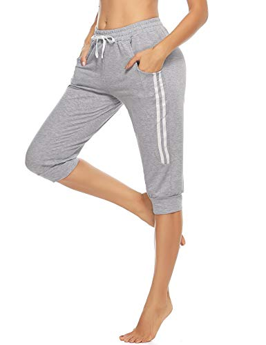 Doaraha Damen Caprihose 3/4 Jogginghose Trainingshose Elegant Relaxhose Sportleggings Yogahose mit Kontraststreifen für Sport und Freizeit, Hellgrau, S