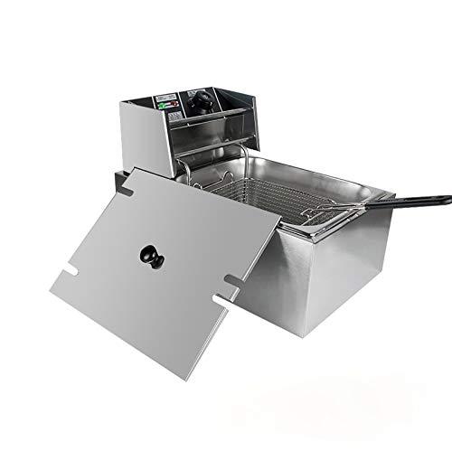 FCXBQ 6L elektrische Fritteuse, Einzylinder-elektrische Fritteuse aus Edelstahl, mit Korb, leicht zu reinigen, 2500 W / 220 V / 50 Hz, 43 * 28 * 29 cm
