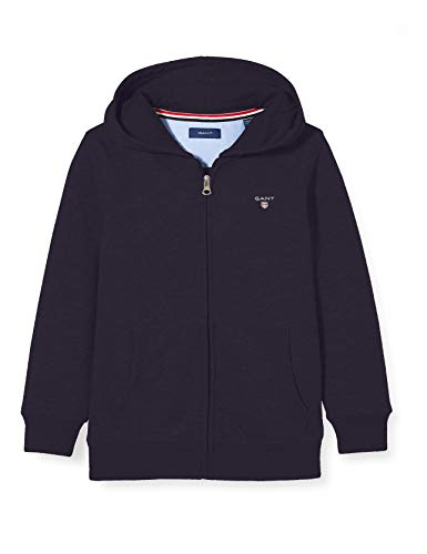 GANT Jungen The ORIGINAL Full Zip Sweat Hoodie Kapuzenpullover, Blau (Evening Blue 433), 164 (Herstellergröße: 158/164)