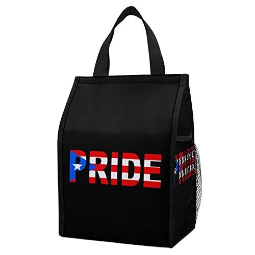 Puerto Rico Pride Flag Foldable Lunch Tote Bag Meal Handbag Box Organizer For Work Picnic School Shopping