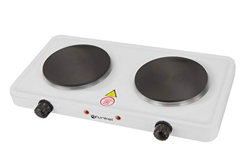 Grunkel - EHP-215 - Hornillo Eléctrico de Doble Placa de 155mm. Cocina Eléctrica Doble portátil ideal para Caravanas, Camping o Cocinas Pequeñas - 1000W + 1000W - Metal forjado – Blanco