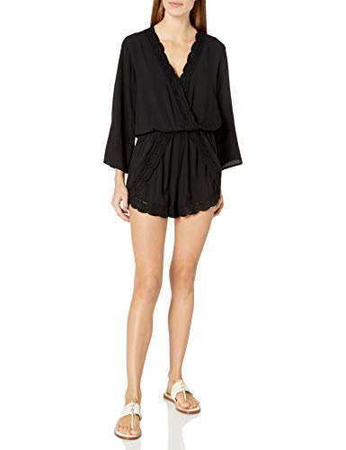 La Blanca Women's Crochet Trim Romper Swimsuit Cover Up, Black//Costa Brava, X-Small
