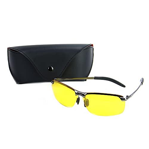 Nachtfahrbrille | Antireflexion & Schutzbrille | UV 400 Strahlenschutz | Keine Blendung polarisierte gelbe Linsen | Pukkr