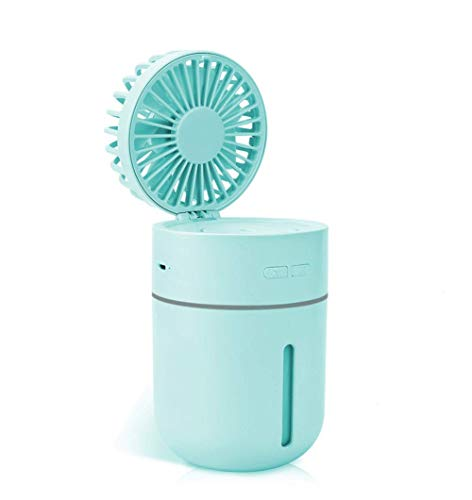 QMMCK 3-in-1 Mini USB Humidifier Portable Handheld Fans 3 Speed Wind & 7 Colors Light Changing Cool Mist Quiet Small Fan for Office Bedroom Kids Travel Outdoor Blue