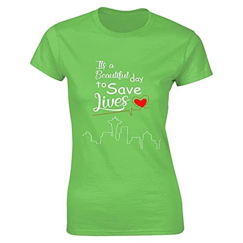 Liuqy It's A Beautiful Day to Save Lives - Camiseta para mujer, diseño de hip pop, verde menta, L