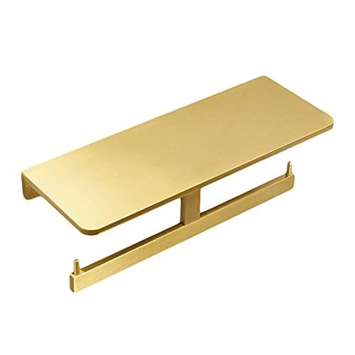 Tenedor de Papel higiénico, 2 Rollos de Almacenamiento de Papel higiénico con Estante del teléfono, dispensador de Papel de Tejido de Montaje en Pared Multifunción (Color : Gold)
