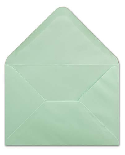 25 Briefumschläge DIN C6 Mintgrün - 11,4 x 16,2 cm - Kuvert mit 100 g/m² Nassklebung spitze Klappe - Umschläge ohne Fenster - Colours-4-you