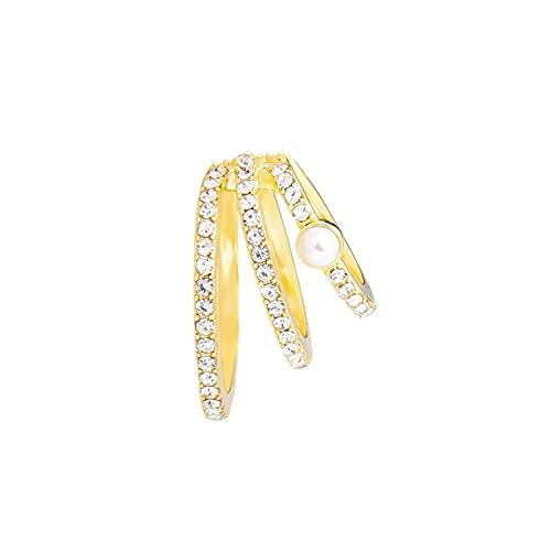 Pendientes con diseño de estrella para mujer, no perforados, con micro pavimentación, cristales de color dorado, joyería (color metálico: oro amarillo claro)