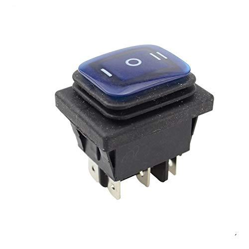 Kfdzsw Interruptor basculante Fijo de Auto-Bloqueo ON Off ON KCD4 IP67 a Prueba de Agua Interruptor Rocker Sealed 3 Manera 6 Botones 12v con la lámpara (Color : Blue)
