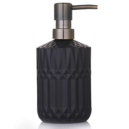 YunNasi Seifenspender Nachfüllbarer Flüssigseifen Spender aus Glas für Geschirrspülmittel, Shampoo-Lotion, Badezimmerarbeitsplatte, Küche, Waschküche (Schwarz)