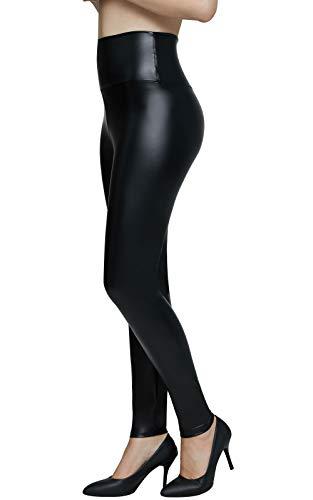 Pelisy Leggings Cuero Mujer Negro Cintura Alta Skinny Sexy Sintetico PU Efecto Pantalones S