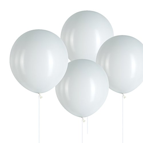 MOWO 18' White Big Balloons Round Latex Helium Balloons for Party Decoration, Pack of 24