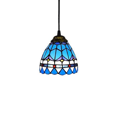 Tiffany Style Mini Colgante Luces Colgantes de 6 Pulgadas Vintage Mediterráneo Azul Lámpara Lámpara de araña Corredor Comedor Lámpara de Colgante Decorativa E27 (Color : Feathers)