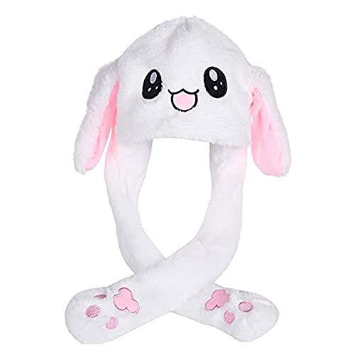 Sombrero conejo, Sombrero Conejo Felpa, Sombrero conejo con Orejas Móviles, Gorro Conejito Móvil Felpa Suave y Divertido Para Fiesta Maquillaje, Fiesta Navideña (Blanco)