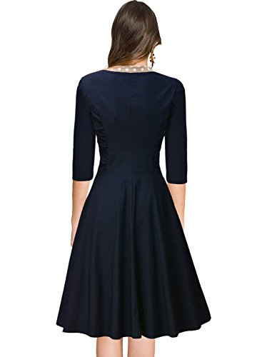 Miusol Damen V-Ausschnitt Schleife Cocktailkleid Faltenrock 50er 60er Jahr Party Stretch?Kleid Blau Gr.L - 2