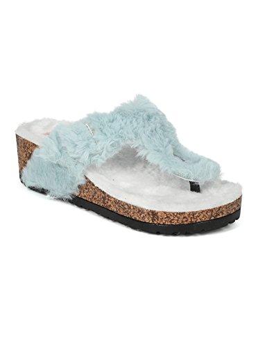 Alrisco Women Faux Fur Thong Faux Cork Platform Wedge Sandal HI56 - Mint Fur (Size: 6.0)