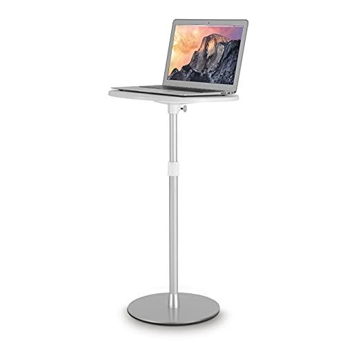 viozonスモールフロアスタンディングデスク サイドテーブル ベッドサイド ソファ 寝室テーブル 高さ調整可能 簡単組立 小型家具(銀と白)-9TS