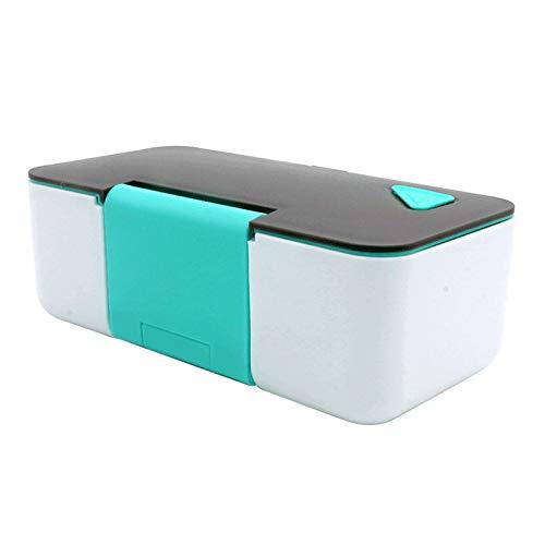 Bento Box, Fiambrera Japonesa ecológica, Fiambrera de una Sola Capa para Adultos, microondas, con Juegos de Cubiertos Reutilizables, para Adultos y niños Escuela de Trabajo,Lake Blue