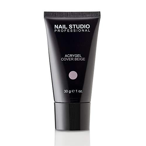 Nail Studio Professional - Natural Acrygel - Acrygel de Alta Cobertura Natural con un Delicado Color Rosa-Beige - Tamaño 30 gr