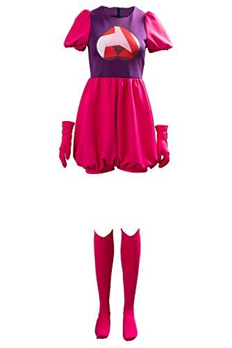 DIFFERONE Disfraz de Steven para Mujer con Gema de espinela, Traje de fantasía, Vestido de Halloween, Cosplay con Accesorios - Rojo - XS
