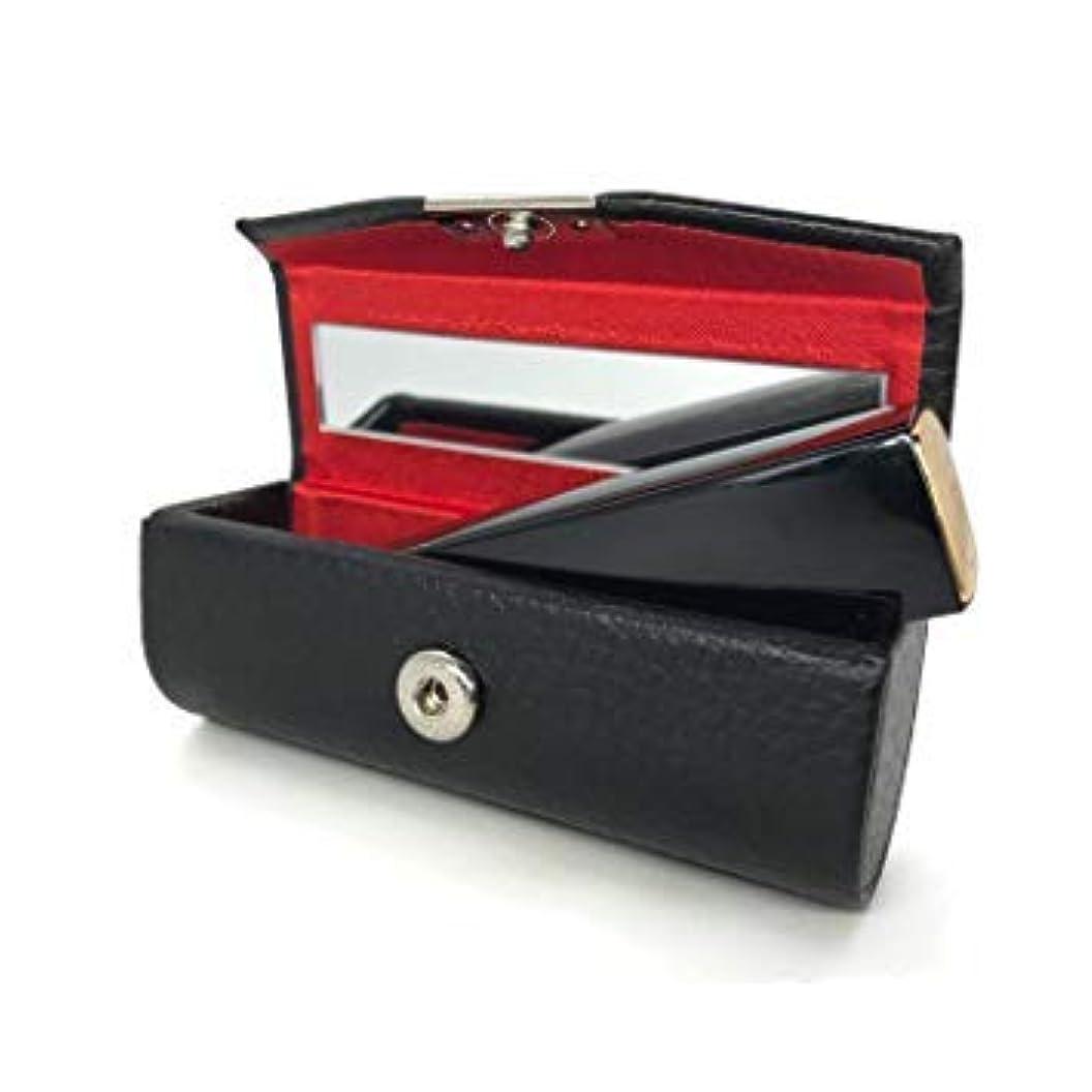 レンチとティームセラフ口紅ホルダー 収納ボックス リップスティックケース レザー ミラー付き