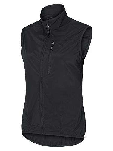 Ziener Nortrun - Chaleco cortavientos para mujer, para bicicleta, exterior, deporte, cortavientos, transpirable, impermeable, Mujer, 209112, negro, 36