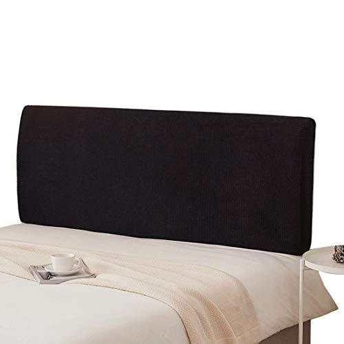 ZUQ Housse Tête de Lit Extensible, Protecteur de Chevet Décoratifs Anti-poussière, Couverture de Tête De Lit Tout Compris Couverture de Arrière Noir 180cm