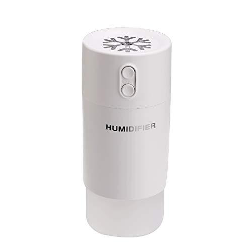 Massage Humidificateur d'air 400 ML, Diffuseur D'huile Essentielle D'arôme USB 3 en 1, sans Bruit 7 Couleurs LED Veilleuse Ventilateur USB avec Fonction D'arrêt Automatique,Blanc