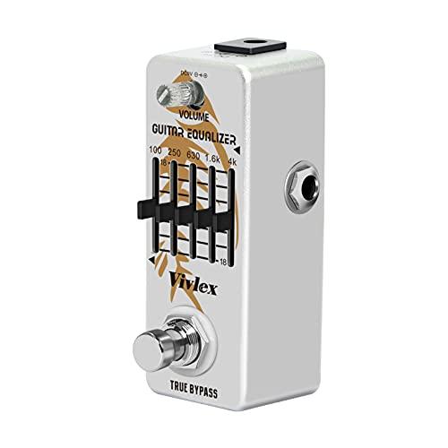 Vivlex LEF-317A EQ Ecualizador Pedal Mini Analógico 5 Bandas Ecualizador Graphic Ecualization para Guitarra eléctrica con True Bypass