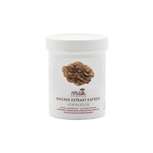 Hawlik Vitalpilze - Maitake Extrakt - 240 Kapseln - 300 mg Pilz-Extrakt - 40 mg Acerola Extrakt - 7mg Vitamin-C - Shellbroken Verfahren