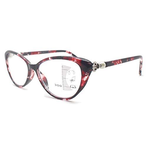 KOOSUFA Damen Gleitsichtbrille Progressive Multifokus Lesebrille Anti-Blaulicht Katzenaugen Hornbrille Sehhilfe Lesehilfe TR90 Anti Müdigkeit Brille 1,0 1,5 2,0 2,5 3,0 3,5 (Rot, 2.5)