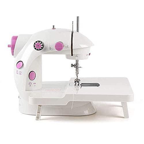 Máquina de coser portátil, eléctrica, multifuncional, con opciones de doble potencia, pedal para niños, principiantes, niñas y niños