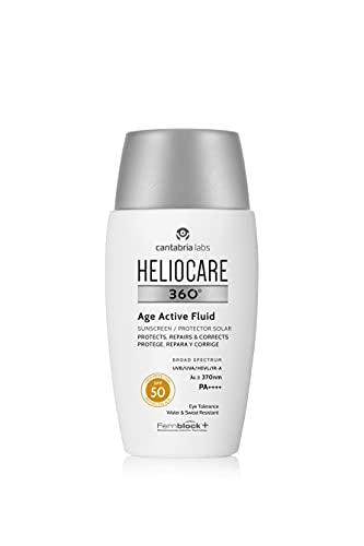 Heliocare 360° Age Active Fluid SPF 50 - Crema Solar Facial, Fotoprotector Ultraligero, con Triple Complejo Antiedad, Previene el Fotoenvejecimiento, 50ml