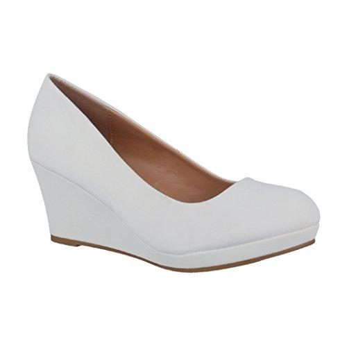 Elara Damen Pumps Keilabsatz Schuhe mit Plateau Chunkyrayan B8011Y-PM-WeissO-40